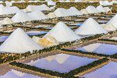 picture of salt mine  - salt piles in the saline of Janubio in Lanzarote - JPG
