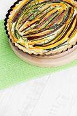 stock photo of tarts  - hoemade delicious vegetable tart  - JPG