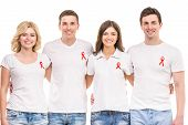 pic of hiv  - Group of young positive people supporting AIDS HIV prevention - JPG