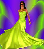 picture of evening gown  - An elegant evening gown and matching cosmetics adorn our unique digital art model - JPG