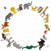 pic of hippopotamus  - Round frame for text Animal Africa - JPG