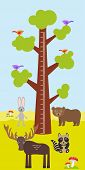 pic of measuring height  - Big tree with green leaves birds rabbit elk bear raccoon Children height meter wall sticker kids measure - JPG
