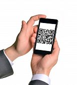picture of qr codes  - Businessmans hands holding smartphone with QR - JPG