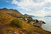 picture of hydra  - View of the Vlichos beach on Hydra island - JPG