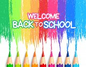stock photo of colore  - Realistic Set of Colorful Colored Pencils or Crayons with Brush Strokes Background in Back to School Title - JPG