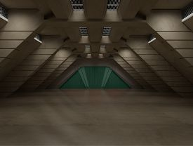 picture of sci-fi  - inside a futuristic sci fi hallway 3D rendering for background or composing image - JPG