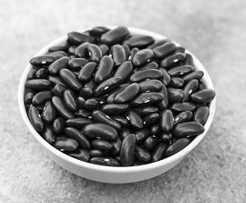 stock photo of grayscale  - Grayscale image depicting a cup of Kidney Bean - JPG