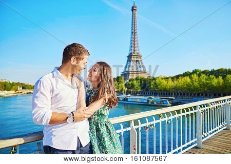 poster of Young Romantic Couple Spending Their Vacation In Paris, France