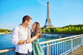 Young Romantic Couple Spending Their Vacation In Paris, France poster