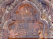 stock photo of mahabharata  - Detail of khmer stone carving for the ramayana legend story  - JPG