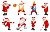 Постер, плакат: Set of sporty Santa Claus characters playing sports games Set of cute Santa Claus characters dresse