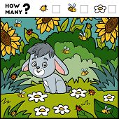 Постер, плакат: Counting Game For Children Educational Game Rabbit And Background