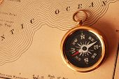 Antique Brass Compass Over Old Usa Map poster