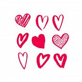 Valentines hearts. Saint Valentine Day red heart pattern for greeting card design. 14 February love  poster