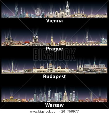 Vector Illustration Of Vienna Prague