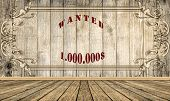 Wooden Floor With Word Wanted On Wood Vintage Background, Sepia Tone poster