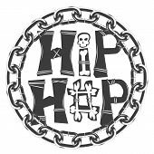 Black And White Symbol In Rap Style. Hip Hop Inscription With Bones And Skull. Round Frame Of Chain poster