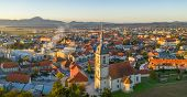 Aerial Panorama View Of Small Medieval European Town Slovenska Bistrica, Slovenia With Church And Ca poster