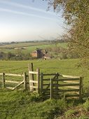 stock photo of farm-house  - A view from the monarchs way long distance footpath tardebigge worcestershire - JPG
