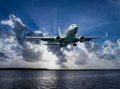 Colourful Australian Cloudscape Seascape With An Airborne Passenger Jet Airliner Flying High In  Whi poster