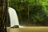 Scenic View Of Waterfall In The Rainy Season (cliff Of Waterfall),erawan Waterfall National Park,kan poster