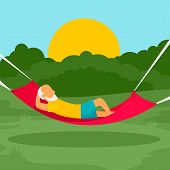 Old Man Rest Hammock Concept Background. Flat Illustration Of Old Man Rest Hammock Vector Concept Ba poster