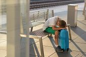 Sad Alone Boy Child Waiting Alone With His Baggage poster