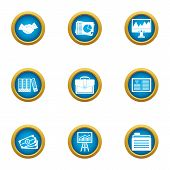 Business Publication Icons Set. Flat Set Of 9 Business Publication Vector Icons For Web Isolated On  poster