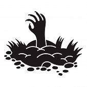 Zombie Ground Hand Icon. Simple Illustration Of Zombie Ground Hand Vector Icon For Web Design Isolat poster