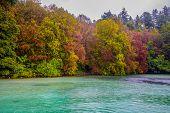 Beautiful Autumn Park. Autumn In Plitvice Park, Croatia, . Autumn Trees And Leaves. Autumn Landscape poster