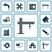 Construction Icons Set With Crane, Putty Knife, Roulette And Other Blueprint Elements. Isolated Vect poster