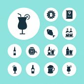 Beverages Icons Set With Burger Menu, Tequila, Container And Other Glass Of Beer Elements. Isolated  poster
