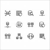 Simple Set Databases Vector Line Icon. Contains Such Icons Server Software, Web, Internet, Transfer, poster