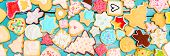 Panorama, Christmas Cookies With Colorful Frosting And Royal Icing, Flatlay poster