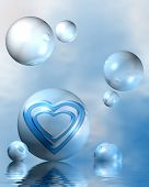 picture of exaltation  - blue abstract composition with hearts symbolizing exalted love - JPG