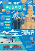 Post Mail Service Postage Office Poster. Post Shipping Transport And Postman In Uniform At Work. Vec poster