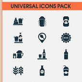 Beverages Icons Set With Beer Bottle, Geolocation, Beer With Cigarettes And Other Fish Location Elem poster