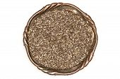 Lot Of Whole Fresh Mottled Chia Seeds In Old Iron Bowl Flatlay Isolated On White Background poster