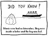 Trivia Fact Series - Fun Cartoon Doodle Newspaper Comic Strip Concept. Titanic Ship Facts. poster