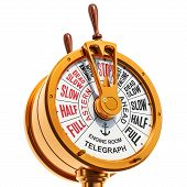 Engine Room Brass Telegraph. Stop Concept. 3d Rendering Isolated On White Background poster