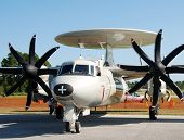 picture of awacs  - Front view of Navy reconnaissance plane parked at airport - JPG
