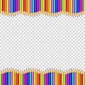 Vector Border Frame Made Of Colored Wooden Pencils Isolated On Transparent Background. Back To Schoo poster