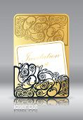 Laser Cutting On Paper, Wood, Plastic. Elements Of Gold Stamping. Floral Pattern, Flower Decor.  Vin poster
