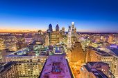 Philadelphia, Pennsylvania, USA downtown city skyline from above at twilight. poster