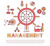 Management Poster Text Sample With Headline, Wheel And Cogwheels Gears Set, Briefcase Icons Glasses, poster
