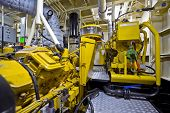 stock photo of tear ducts  - The engine room of a tugboat - JPG