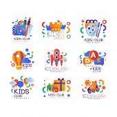 Kids Club Logo Original Set, Creative Labels Templates, Playground, Entertainment, Science Education poster