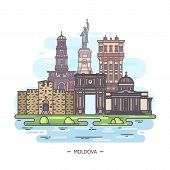 Moldovan Landmarks Or Moldova Sightseeing Places, Outdoor poster