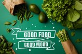 Top View Of Different Green Ripe Vegetables On Green Surface With Good Food - Good Mood Inspiration poster