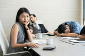 Bored Business People And Sleeping Resting On Workplace During Work Meeting, Concept Of Exhausted Bu poster